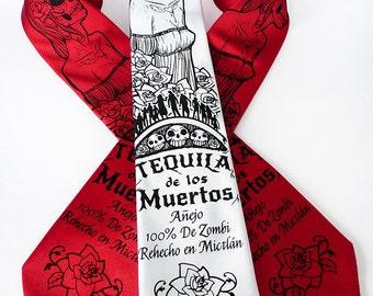 Tequila Men's Necktie, Skull Tie, Day of the Dead Tie - Tequila de los Muertos Necktie - Speculative Spirits