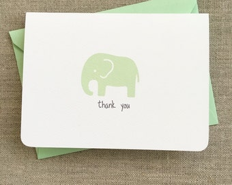 mint gender neutral baby elephant baby shower thank you cards, elephant baby shower thank you notes, handmade elephant baby shower thank you