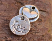 One Tiny Round Love and Heart Charm in Sterling Silver