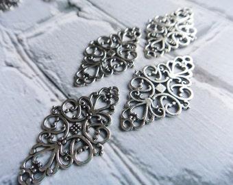 Silver Thick Filigree, Diamond Shape Filigree Pieces, Metal Jewelry Supply -10-