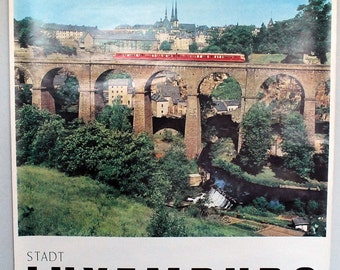 Luxembourg Travel Poster, Original Vintage Print, 1960s Wall Hanging, Europe Souvenir, City Skyline, Train Photograph, Vintage Ephemera