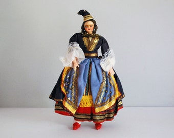 Vintage Cloth Doll, Eastern European Woman, Textile Folk Art, Colorful Ethnic Dress, Boho Home Decor, Travel Souvenir, International Doll
