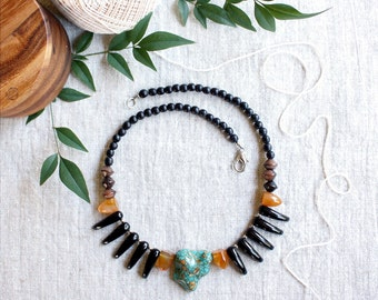Turquoise Statement Necklace, Boho Necklace, Glass Bead Necklace, Agate Stone Jewelry, Boho Wedding, Glass Spikes Necklace, Bohemian Style