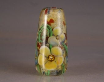 Lampwork Focal Bead,  encased floral