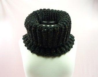 COWL SCARF Black Chunky Thick Ridge Infinity Neck Warmer Crochet Womens Teens Ladies Black Fleck Scarves