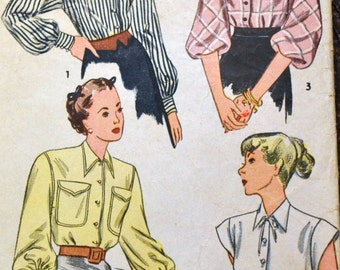 Vintage 1940s Sewing Pattern Simplicity 1728 Misses'  Blouses  Bust 30 Inches Complete