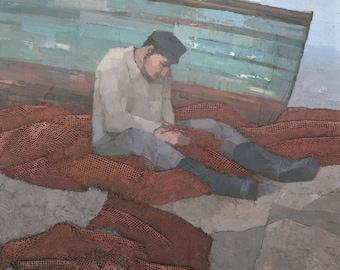 The Fisherman - Original Mixed Media Painting