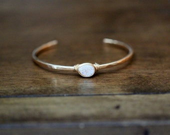 Druzy Gold Cuff , Gemstone Stacking Bracelet , Hammered Wire Bezel Wrapped in Gold or Silver ,  Christmas Gift Ideas - Confetti Cream
