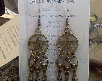 Goddess Dreamweaver Pentacle Earrings