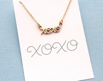 XOXO Necklace | Cursive Necklace | Hugs & Kisses Necklace | Birthday Gift | Gift for Her | for Mom | Valentine's Day | Silver or Gold | X06