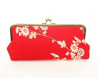 Clutch bag, red and cream blossom vintage Japanese kimono fabric, evening purse