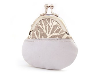 White coin purse, leather and linen, mini pouch, gift for her, CELIA