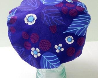 Waterproof Shower Cap - Retro Folk Boho Royal Purple Blue Raspberries with Leaves - Rockabilly Bath and Beauty Hat