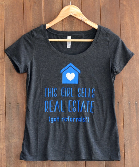 Items similar to women 39 s triblend scoop real estate real for Selling shirts on etsy