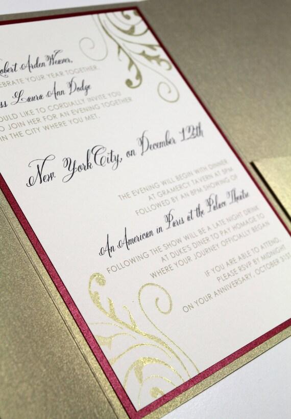 Gold Shimmer Pocketfold Invitation Suite, Custom Invitations, Pocket Invite, Modern Wedding, Etsy Weddings