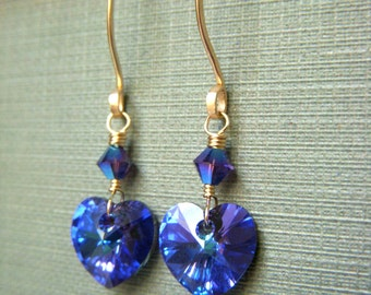 Purple Crystal Earrings, Swarovski Jewelry, Gold Filled Earrings, Swarovski Crystal Heart Earrings, Heliotrope Crystal, Goldfilled Earwire