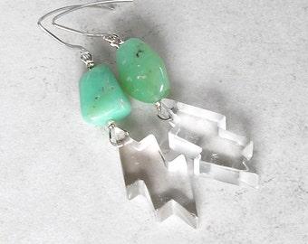 Tribal Boho Chrysoprase Earrings Rock Quartz Lightening Bolt Sterling Silver Earrings Wire Wrapped Jewelry