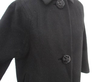 50s Rose swirl Button Coat Black vintage wool coat Minimalist winter Coat 50s Vintage coat 3/4 sleeve  S  M