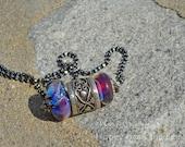 Lampwork and Bali Silver Heart Pendant - Boulder Opal glass, cranberry glass