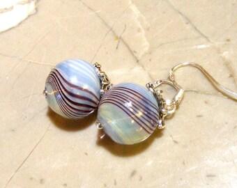 Blown Glass Hollow Balls Blue/lime Swirl Sterling Silver Earrings Nc2226 - SRA by Lynn