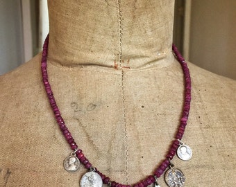 Eleonore, necklace of rubies and antique French medals