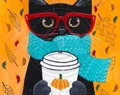 Autumn Pumpkin Coffee Black Cat Original Folk Art Portrait Painting