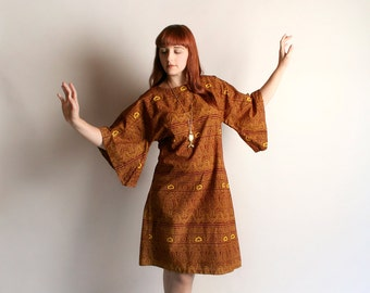 Vintage Dashiki Dress - Angel Wing Sleeve Loose Fit Tunic Dress - African Ethnic Festival - Burgundy Brown Yellow - Medium Large