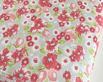 SALE Little Ruby fabric,  Little Swoon Gray by Bonnie and Camille, Floral fabric, Red fabric,  Cotton Fabric by the Yard, Choose the cut