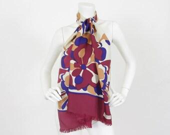 MOVING SALE Bianchini Ferier Paris 1970's Vintage Floral Long Pure Silk Signed French Designer Scarf