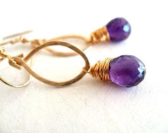 Amethyst Earrings Gemstone teardrop briolette Purple February birthstone earrings Gift for her Under 75 Vitrine
