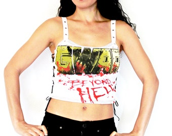 Gwar shirt crop top lace up heavy metal alternative clothing apparel reconstructed rocker clothes altered band tee t-shirt