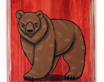 Bear Wall Art - Small Original Acrylic Painting on Wood by Karen Watkins - Bear Art - Woodland Animal - Brown Bear Painting