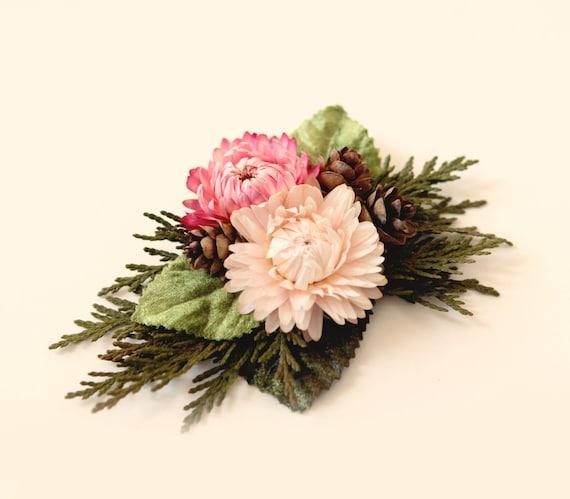 Autumn bridal clip, Strawflower headpiece, Rustic wedding hair clip, Unique bridal alternative, Hair clip wedding, Fall wedding hair clip
