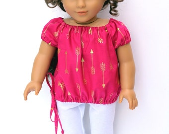 Fits like American Girl Doll Clothes - The Arrow Jewel Tone Collection, Peasant Bubble Top in Fuchsia Arrows, Made To Order