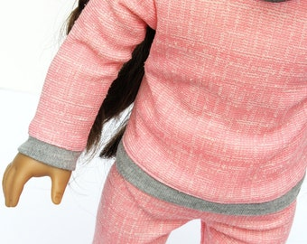 Fits like American Girl Doll Clothes - Sweatsuit Set in Pink and Heather Gray