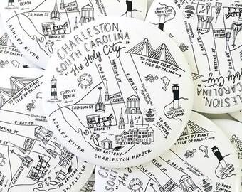 Charleston, South Carolina Map Magnets