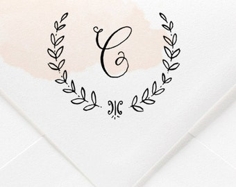 Custom Laurel Wreath Initial Rubber Stamp