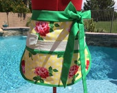 Sturdy Retro Rose Sassy Vendor Apron, Womens Regular and Plus Sizes, great for Teachers Gifts, Gardening, Crafts, Utility, Farmers Market