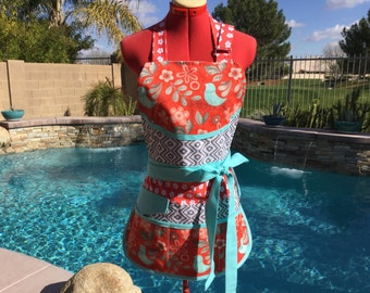 Sassy Vendor Apron,  Full Apron with 6 pockets, Teachers Aprons,  great for Sewing, Farmers Market, Gardening, Cleaning