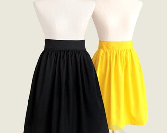 Cotton gathered fully lined skirt with pockets - full skirt in black blue red navy brown red mint lavender plum mustard yellow tan hot pink