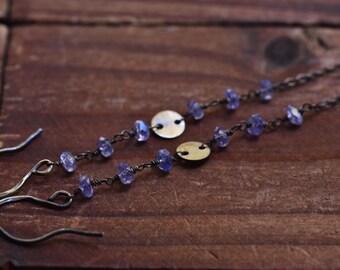Long Oxidized Silver Tanzanite Earrings - Long Sterling Silver Earrings - Rustic Boho Earrings - Silver Disc Earrings