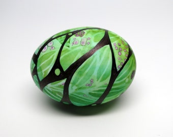 Hand Painted Egg Spring Leaves and Berries