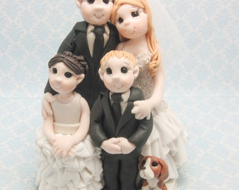 Custom Bride and Groom with Children Wedding Cake Topper