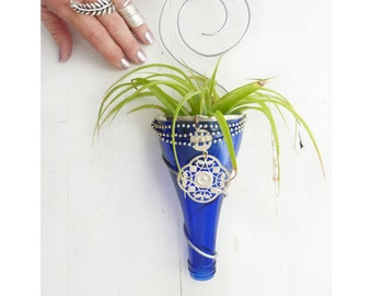 Air plant holder - Cobalt Blue Recycled bottle sconce with upcycled jewelry