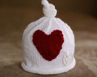 Little knit hat with the big heart.  WHITE.  Sizes newborn to big kid available. VALENTINES DAY