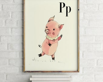 Pig print, nursery animal print, alphabet cards animals, alphabet letters, abc letters, alphabet print, animals prints for nursery