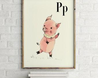 Pig print, nursery animal print, alphabet cards animals, alphabet letters, abc letters, alphabet print, animals prints for nursery