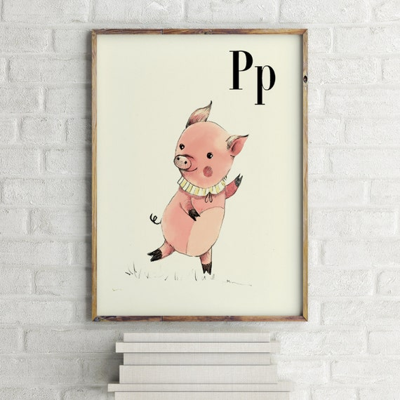 P for Pig - Alphabet art - Alphabet Letters - Baby Zoo Animals - Safari Nursery - Nursery art - Nursery decor - Baby Animals
