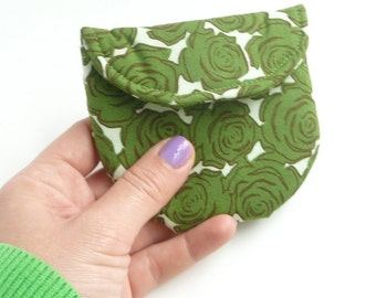 green rosary pouch. catholic gift. green rose fabric first communion baptism confirmation. padded ear bud hearing aid case. magnet snap.