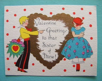 Vintage Valentine's Day Card for Sister Art Deco Polka Dots